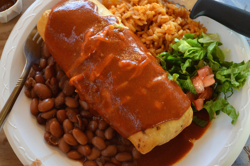 Casa Taco Chimichanga smothered in red chile