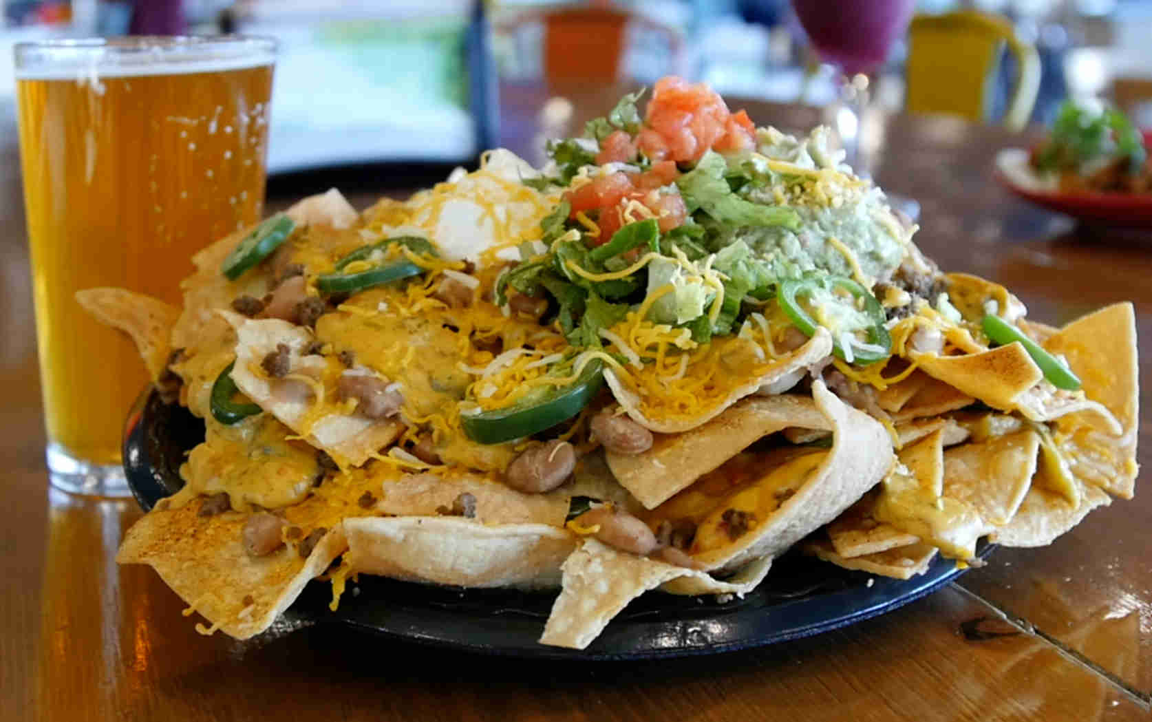 beer and beef nachos at Casa Taco in Albuquerque New Mexico